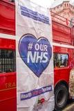 NHS dans la démonstration de crise, par Londres centrale, dans la protestation du sous-provisionnement et la privatisation dans N Image libre de droits