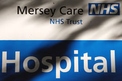 NHS Hospital Sign. In Merseyside, United Kingdom Stock Image
