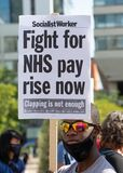 NHS workers protest, demanding a pay rise from the British Government.