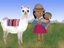 Niñapotosina bedriegt su bebe y su lama royalty-vrije illustratie