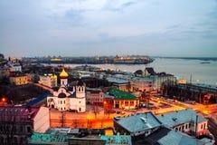 Nižnij Novgorod, Russia alla notte Fotografie Stock Libere da Diritti
