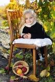 Niña adorable con las manzanas, tiempo del otoño foto de archivo libre de regalías
