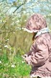 Niña adorable en jardín floreciente de la cereza en día de primavera hermoso fotos de archivo