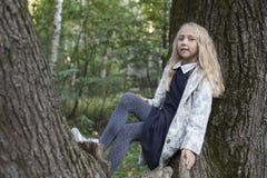 Niña adorable que juega en la madera Foto de archivo libre de regalías