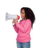 Niña africana con un megáfono Fotografía de archivo