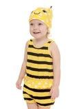 Niña alegre feliz vestida como abeja, cierre Fotos de archivo libres de regalías