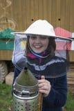 Niña - apicultor joven Fotografía de archivo