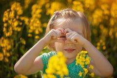 Niña bonita hermosa del retrato en campo amarillo en día de verano soleado fotografía de archivo