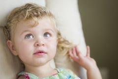 Niña cabelluda y azul observada rubia adorable en silla imagenes de archivo