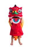 Niña china asiática con el traje de Lion Dance Foto de archivo libre de regalías