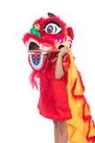 Niña china asiática con el traje de Lion Dance Imágenes de archivo libres de regalías