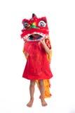 Niña china asiática con el traje de Lion Dance Foto de archivo