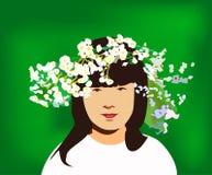 Niña con el anillo de flores Imagenes de archivo