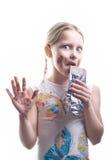 Niña con el chocolate Imagenes de archivo