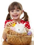 Niña con el conejo blanco de pascua Imágenes de archivo libres de regalías