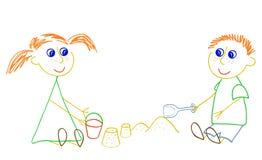 Muchacha y muchacho que juegan con la arena ilustración del vector