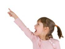 Niña con el dedo índice para arriba Fotografía de archivo libre de regalías