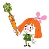 Niña con el ejemplo de la historieta de la zanahoria Fotografía de archivo