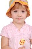 Niña con el lollipop Fotos de archivo
