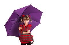 Niña con el paraguas Fotografía de archivo libre de regalías