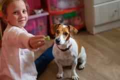 Niña con el perro en casa en sala de juegos foto de archivo