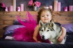Niña con el perro esquimal Foto de archivo libre de regalías