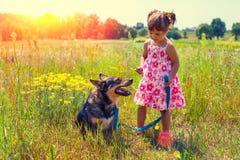Niña con el perro grande fotografía de archivo