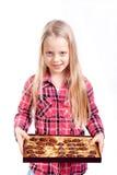Niña con el rectángulo del caramelo Fotografía de archivo libre de regalías