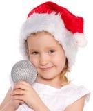 Niña con la bola de la Navidad Foto de archivo