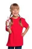 Niña con la botella de agua Fotografía de archivo libre de regalías
