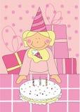 Niña con la torta de cumpleaños Foto de archivo