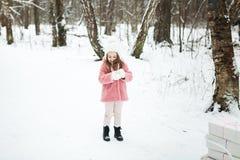 Niña con las cajas de regalo en el bosque Foto de archivo libre de regalías