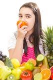 Niña con las frutas Imágenes de archivo libres de regalías