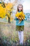 Niña con las hojas de otoño Fotos de archivo libres de regalías