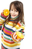 Niña con las naranjas Imágenes de archivo libres de regalías