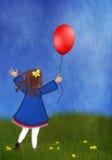 Niña con un globo en un prado de la primavera Imagen de archivo