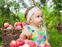 Niña con una cesta de manzanas rojas imagen de archivo