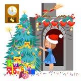 Niña de la historieta en sombrero rojo que adorna el árbol de navidad stock de ilustración