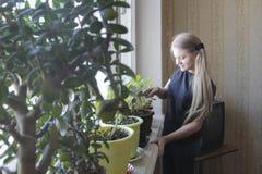 Niña del adolescente en casa que riega las flores en ventana Fotografía de archivo libre de regalías