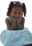 Niña del afroamericano en alineada azul Fotografía de archivo