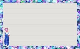 Niña del ` de la serie de la plantilla con el ` azul de la mezclilla, ` escarpado de los círculos del ` de la variación Fotos de archivo