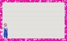 Niña del ` de la serie de la plantilla con el ` azul de la mezclilla, ` de las burbujas del rosa del ` de la variación Imágenes de archivo libres de regalías