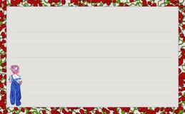 Niña del ` de la serie de la plantilla con el ` azul de la mezclilla, ` de las rosas rojas del ` de la variación Fotos de archivo