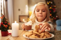 Niña divertida con la taza de chocolate caliente que toma la galleta de Imágenes de archivo libres de regalías