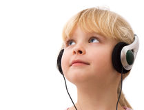 Niña en auriculares Imágenes de archivo libres de regalías