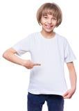 Niña en camiseta en blanco Fotografía de archivo libre de regalías