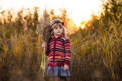 Niña en campo con puesta del sol Imágenes de archivo libres de regalías