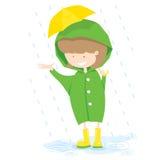 Niña en día lluvioso. stock de ilustración
