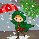 Niña en día lluvioso stock de ilustración