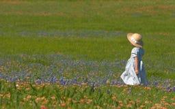 Niña en el campo de bluebonnets Imagen de archivo